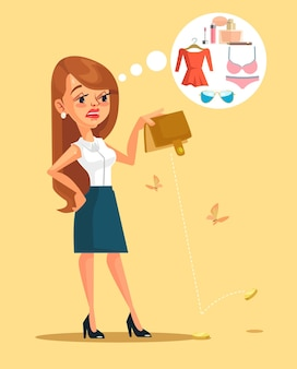 Woman character spent all her money, flat cartoon illustration