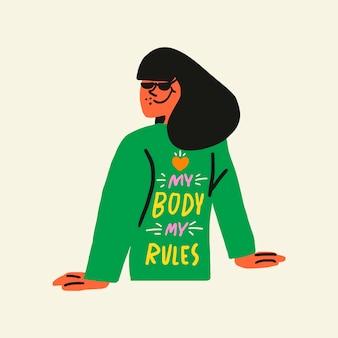 Vettore dell'elemento del collage dell'autoadesivo del carattere della donna, il mio corpo il mio concetto di positività del corpo di regole