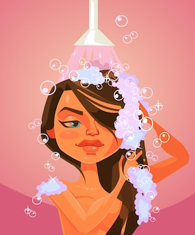 Woman character taking shower.   cartoon