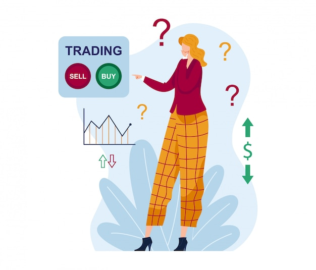 Woman character think trading, yes or no purchase marketplace exchange