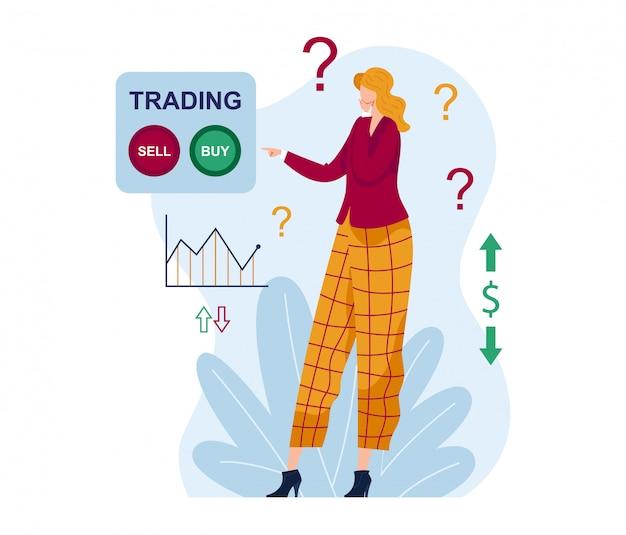 Женский персонаж думает, что торгует, да или нет на бирже покупок
