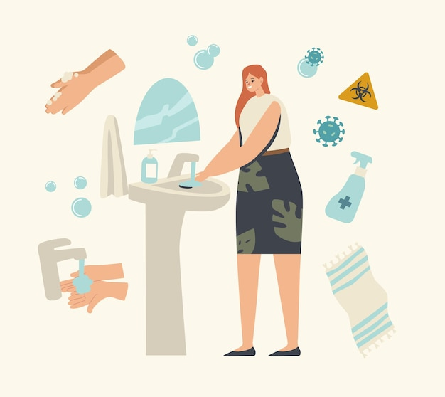 Woman character washing hands in bathroom with disinfectant gel or antibacterial soap and covid cells flying around