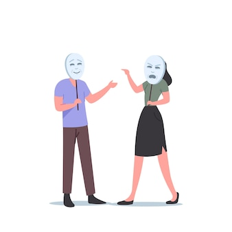 Woman character wear angry mask scream on man who hide his face. people playing life roles, hiding emotions and cover faces under masks, hypocrisy, insincerity concept. cartoon vector illustration