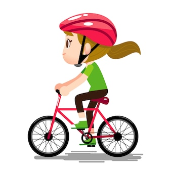 Woman Character wearing helmet and riding Bicycle