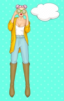 Woman character with modern and fashion clothing