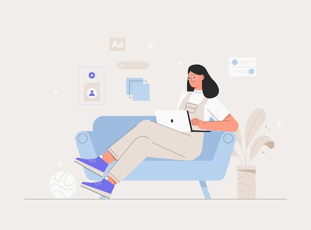 집에서 노트북으로 일하는 여성 캐릭터. 컴퓨터에서 웹 및 애플리케이션 개발 작업을 하는 프리랜서. 소프트웨어 개발자. 평면 스타일 벡터 일러스트 레이 션.