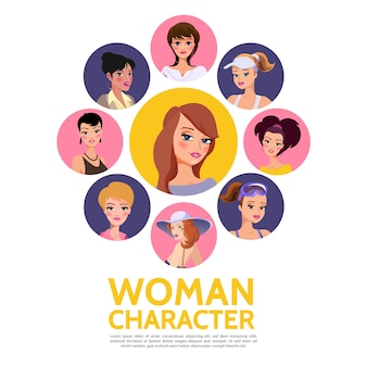 Woman characters avatars template