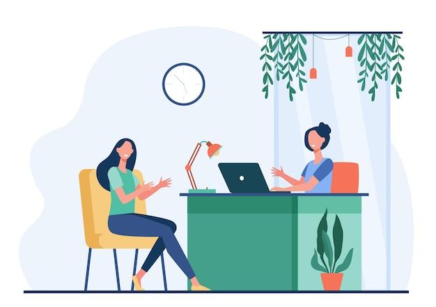 Женские персонажи, имеющие деловой разговор или встречу с плоской иллюстрацией