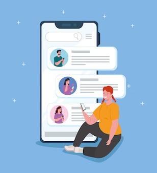 友人とスマートフォンでチャットする女性、デジタル通信をオンラインでチャット