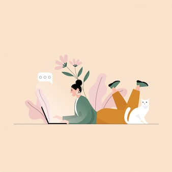 Woman chatting and lying on the floor with laptop and her cat. flat illustration.