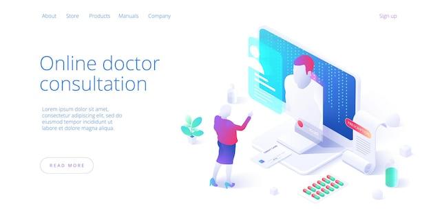 Женщина в чате на медицинском интернет-портале. пациент, имеющий онлайн-консультацию с врачом. современные медицинские услуги и онлайн
