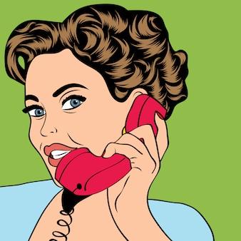 Woman chatting on the retro phone, pop art illustration