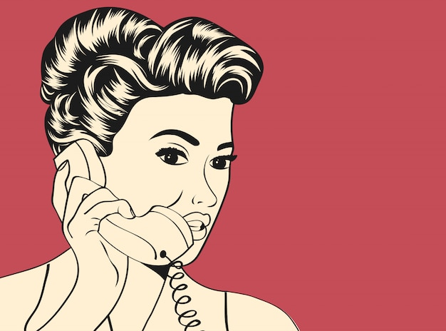 Woman chatting on the retro phone