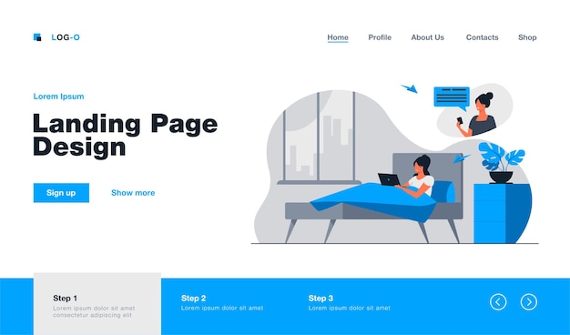 Woman chatting with female friend online at home landing page template