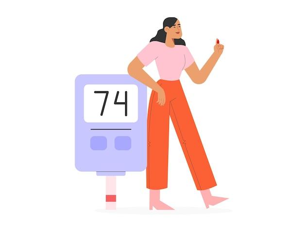 Женщина проверяет уровень сахара в крови с помощью глюкометра