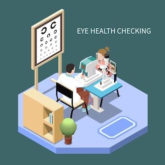 안과 사무실 아이소 메트릭 구성 3d 그림에서 눈 건강을 확인하는 여자