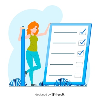 Woman checking giant check list background