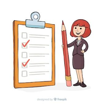女性の巨大なチェックリストの背景をチェック