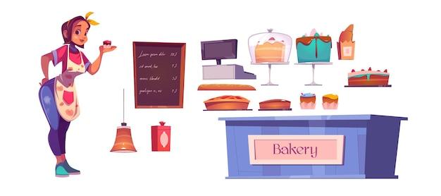 Шеф-повар женщины и интерьер магазина пекарни с прилавком, тортами, кассой и доской меню.