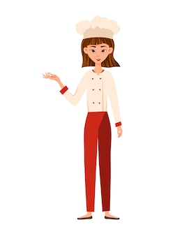 Woman chef cook points to the hand to the side. vector illustration.