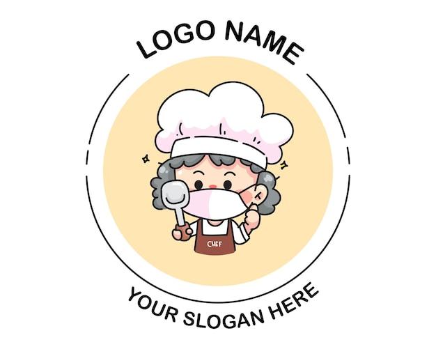 ターナーのロゴを保持している女性シェフ。漫画アートイラスト