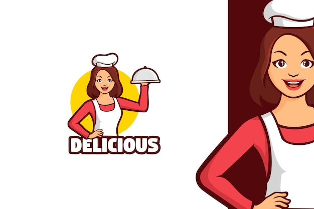 Персонаж талисмана логотипа шеф-повара женщины