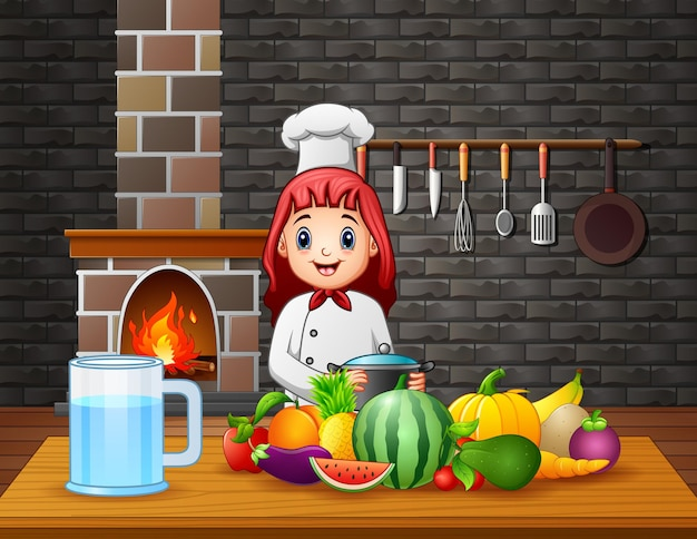 A woman chef preparing food at the dining table