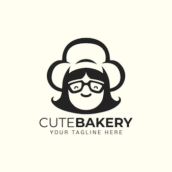 Woman chef with hat. logo for restaurant, cafe, cake bakery shop