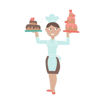 Woman chif holding festive tiered cakes flat color vector illustration female baker in chef hat girl