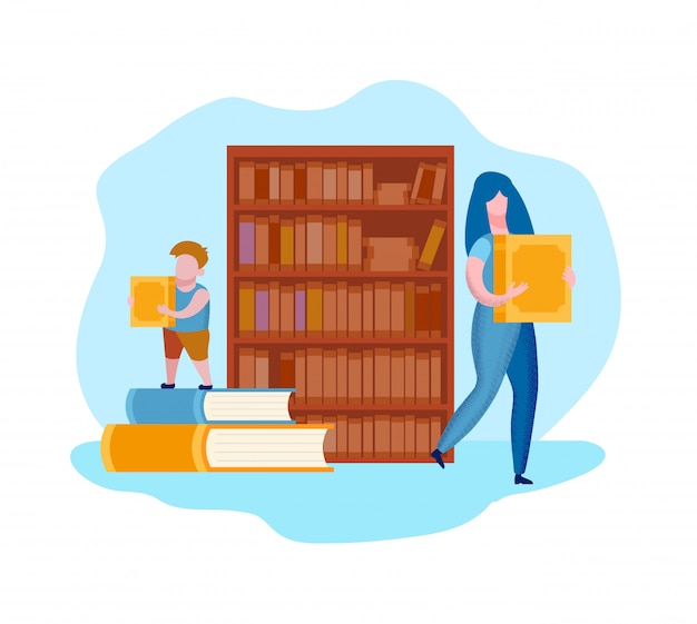 Woman and child with books in hands near bookshelf