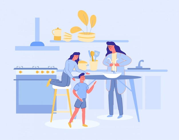 Woman and children characters cook in kitchen.