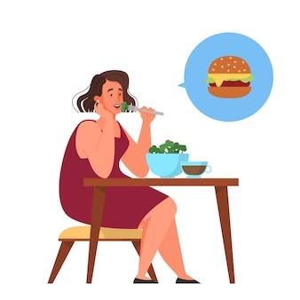 여성은 건강 식품과 정크 푸드 중에서 선택합니다. 칼로리 조절 및 다이어트 개념. 체중 감량에 대한 아이디어. 삽화