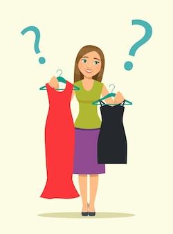 女性はドレスを選びます。ベクトルイラスト