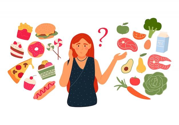 여자는 패스트 푸드와 건강한 라이브 음식 중에서 선택합니다. 다이어트 개념.