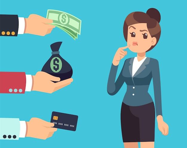 여자는 투자자를 선택합니다. 비즈니스 여자 생각, 남자는 돈을 제공합니다. 아이디어에 투자하거나 자본을 지불하거나 조달합니다. 수익성 있는 금융 투자, 새로운 시작 벡터 일러스트 레이 션을 위한 대출