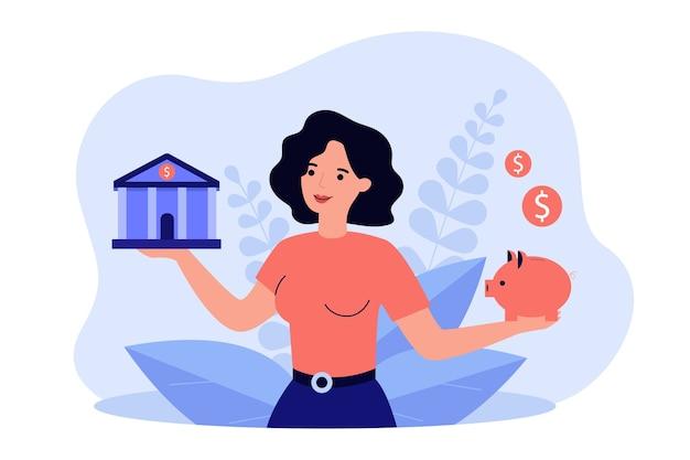평면 디자인에 은행과 piggybank 사이 선택하는 여자