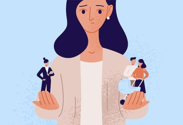 가족 또는 부모의 책임과 직업 또는 직업적 성공 중에서 선택하는 여성. 어려운 선택, 삶의 딜레마, 균형 추구, 의사 결정. 플랫 만화 벡터 일러스트 레이 션.