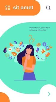 健康食品と不健康食品のどちらかを選ぶ女性。オーガニックまたはジャンクスナックの選択について考えるキャラクター