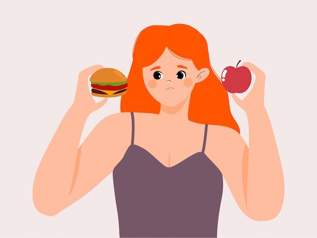 건강에 해로운 음식 일러스트 사이에서 선택하는 여자