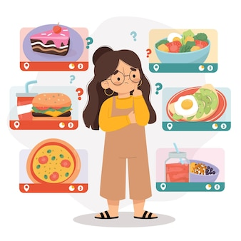 건강에 해로운 음식과 건강에 해로운 음식 사이에서 선택하는 여자