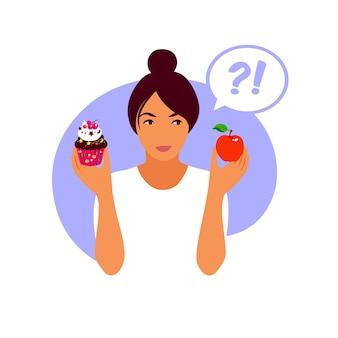 건강한 식사와 건강에 해로운 음식 사이에서 선택하는 여자. 라이프 스타일과 영양 개념.