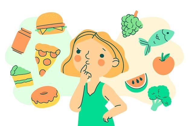 건강하거나 건강에 해로운 음식 일러스트 사이에서 선택하는 여자