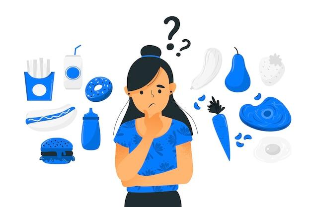 Женщина, выбирая между здоровой или нездоровой пищи