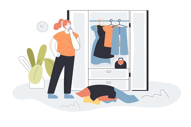 Woman choosing clothes from wardrobe. female character picking outfit, pile of clothes, closet flat  illustration.