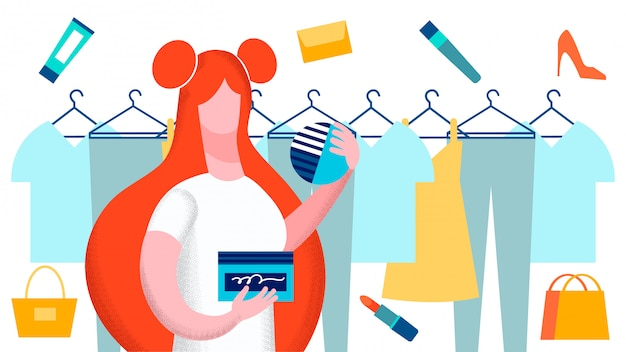 Woman choosing clothes vector flat illustration