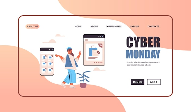 Woman choosing goods on smartphone screen online shopping cyber monday big sale concept   copy space