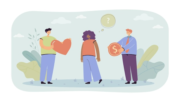 Woman choosing between love and money