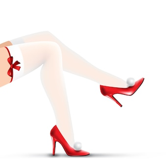 Woman christmas legs in red shoes and white stockings