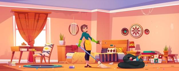 Женщина убирает спальню в богемном стиле.