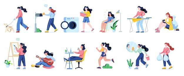 Женщина убирает дом и делает работу по дому. домохозяйка занимается повседневными домашними делами. иллюстрация